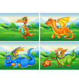 Four dragons in the field vector image vector image