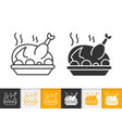 fried turkey simple black line icon vector image vector image