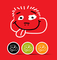 Funny Face on Red Background vector image vector image