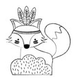 grunge ethnic fox animal in back of bushes plant vector image vector image