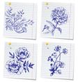 hand-drawn doodle flower set in sketchbook vector image vector image