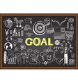 Hand drawn goal on chalkboard vector image vector image