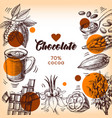 hand drawn sketch cocoa chocolate product vector image vector image