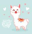 happy valentines day with cute llama valentines vector image vector image