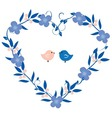 heart wreath with birds vector image vector image