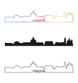 helsinki skyline linear style with rainbow vector image vector image