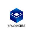 hexagon cube logo concept design symbol graphic vector image vector image