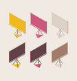 isometric outline full color set projector screen vector image