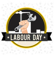 labor day ribbon hand holding wrench circle frame vector image