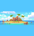 lost island in ocean with alone castaway person vector image
