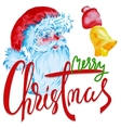 Merry Christmas green and red lettering design vector image