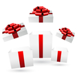 Opened gift boxes on grayscale vector image vector image