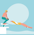 persons practicing swimming avatar character vector image