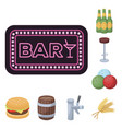 pub interior and equipment cartoon icons in set vector image vector image