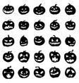Pumpkin silhouettes set vector image
