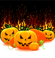 red fire with pumpkins vector image