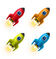 rocket red icon 3d realistic color set object vector image vector image