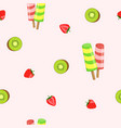 seamless pattern ice cream and fruits vector image