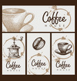 set design elements on theme coffee vector image