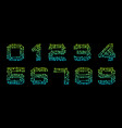 set numbers made in circuit texture numerals vector image
