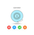 solar energy icon ecological resources sign vector image