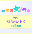 summer holidays card with sea shells vector image vector image
