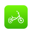 tricycle icon digital green vector image
