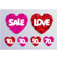 Valentine love card with red heart and sale vector image vector image