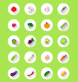 vegetables flat icons with shadow vector image