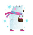 white bear with berries and snowflakes vector image vector image