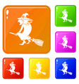 witch on broom icons set color vector image