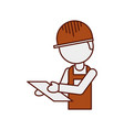 worker logistic delivery with clipboard in hands vector image vector image