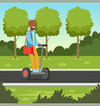 young african man riding on segway scooter in the vector image