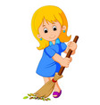 young girl sweeping vector image vector image