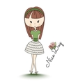 School girl Little child with long hair Nice day vector image
