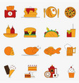 trendy color flat food products icon set european vector image