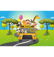 A group of happy animals travelling vector image vector image