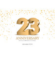 anniversary 23 gold 3d numbers vector image vector image