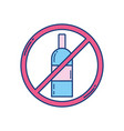 attention forbidden alcohol sign icon vector image