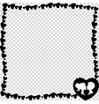 black and white vintage border of hearts with vector image