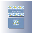 blue and grey business card hand-drawn pattern vector image vector image