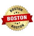 Boston round golden badge with red ribbon vector image vector image