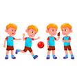 boy kindergarten kid poses set kiddy vector image