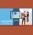business man and woman with flip chart seminar vector image