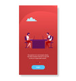business woman and man sitting office desk working vector image vector image