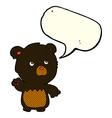 cartoon black teddy bear with speech bubble vector image vector image