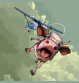 cartoon funny cow transported by air by plane vector image