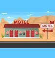 cartoon roadside motel on a landscape background vector image vector image