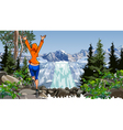 cartoon woman jumping near a waterfall vector image
