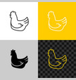 chicken line style icon sitting hen silhouette vector image